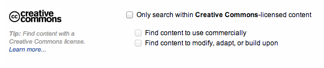 Only search within Creative Commons content